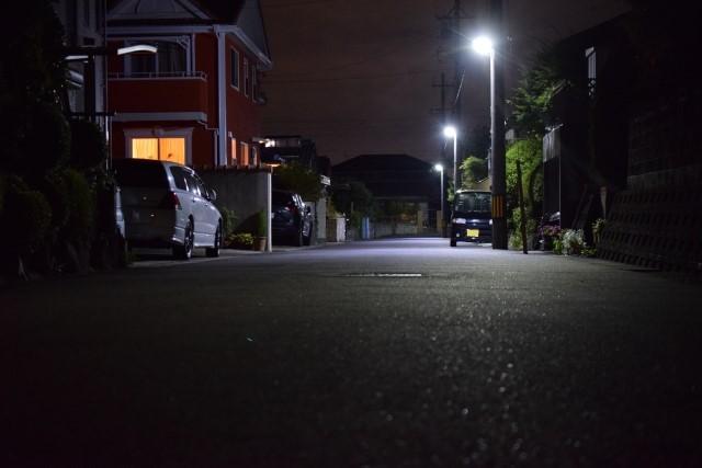 夜道の写真です