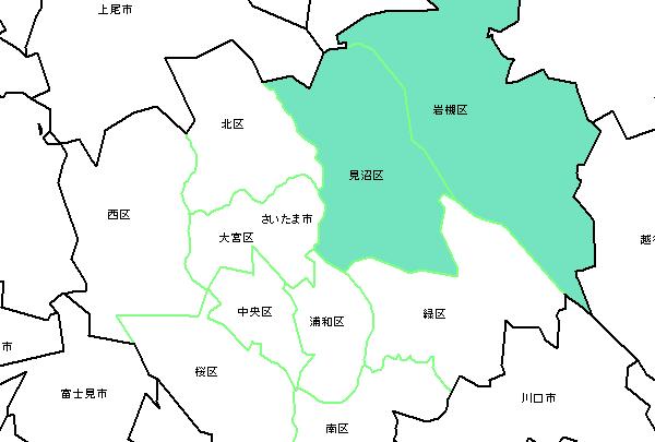 見沼区、岩槻区の地図です