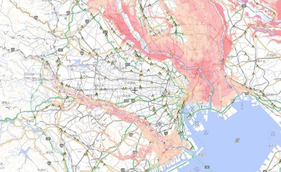 都内の洪水危険箇所のハザードマップです