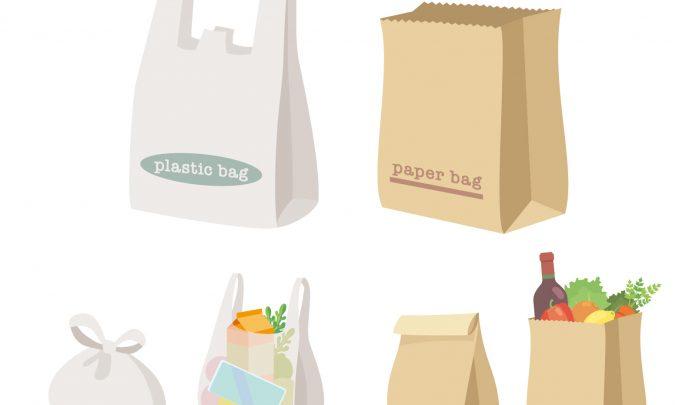 レジ袋と紙袋のイラスト
