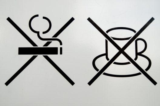 飲食禁止、火気禁止のサイン