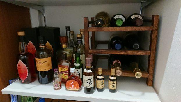 たくさんのワインやウイスキー